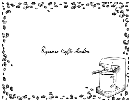 Illustration pour Illustration Hand Drawn Sketch of Coffee Beans with Espresso Machine Isolated on White Background. An Appliance Used to Brew Coffee. - image libre de droit