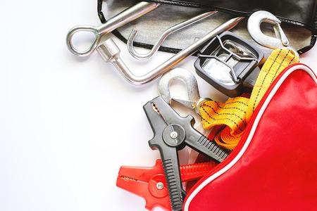 Photo pour Car emergency kit on white background for vehicle and transportation concept - image libre de droit