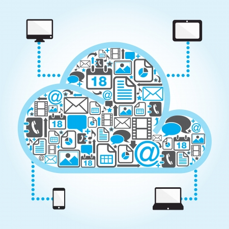 cloud computing with file icon in blue background