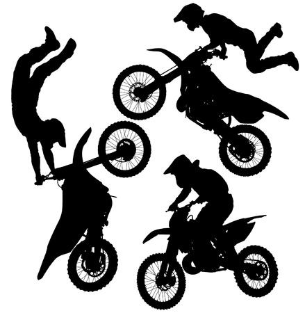 Illustration pour Motocross Jump Silhouette on white background - image libre de droit