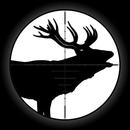 Hunter sniper scope crosshair aiming elk