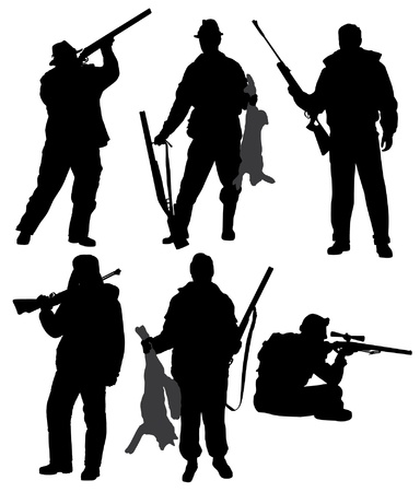 Hunter Silhouette on white background