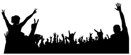 Illustration pour Concert Crowd Silhouette on white background - image libre de droit