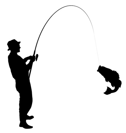 Fisherman caught a fish silhouette
