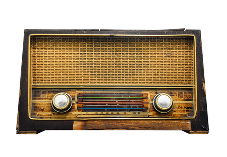 Photo for clipping path, old retro wooden radio receiver isolated on white background - Royalty Free Image