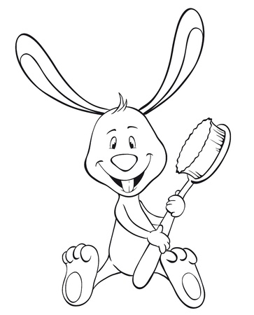 Bunny with toothbrush and happy tooth. Outline illustration