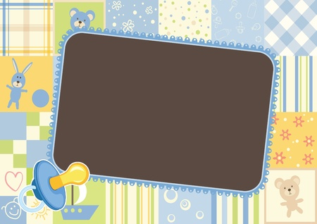 Illustration for Boys children frame - border of the patterns - Royalty Free Image