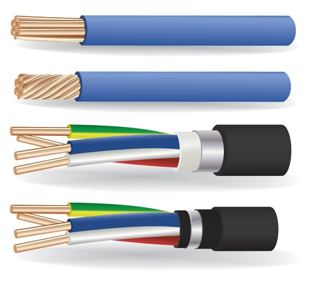 The vector image of 1-wire and 4-wire armored electric copper cables
