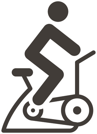 Fitness sports icons set - indoor cycling icon