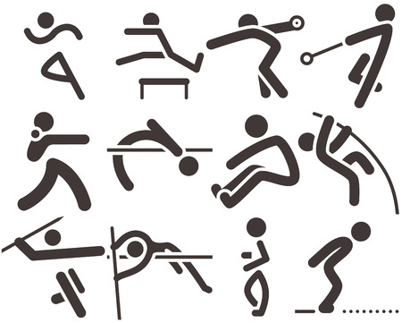 Photo for Summer sports icons -  set of athletics icons. All icons are optimized for size 32x32 pixels - Royalty Free Image