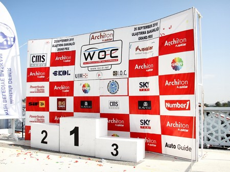 ISTANBUL - SEPTEMBER 25, 2010: The podium of Fatih Grand Prix ready for the ceremony at UIM World Offshore 225 Championship