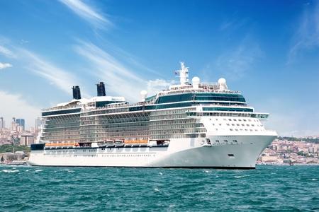 Luxury cruiseship sailing Bosporus waters