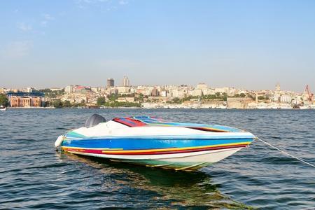Colorful race boat in berth