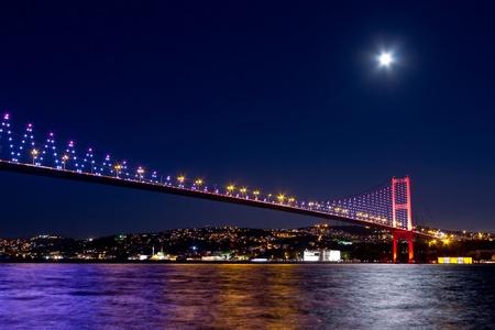 Night scene of Istanbul Bosporus Bridge