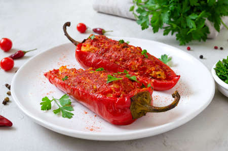 Photo for Tasty peppers stuffed with chicken, lentils and tomatoes. Simple and useful dish. - Royalty Free Image