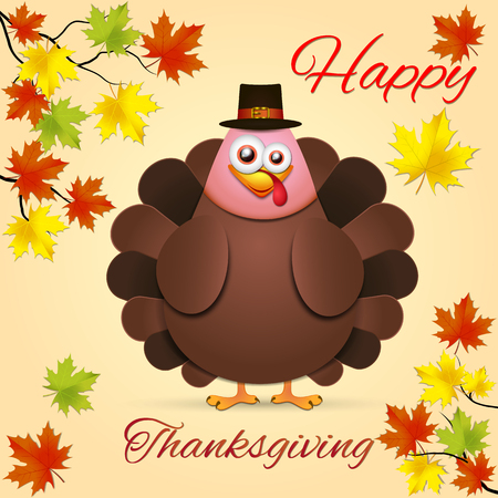 Illustration pour Turkey in cartoon style. Funny character Thanksgiving. Happy Thanksgiving funny illustration. Flat style. - image libre de droit