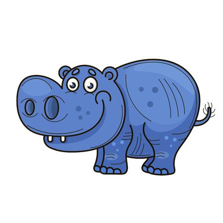 Ilustración de Little hippopotamus. Cartoon. Blue cheerful cartoon animal - Imagen libre de derechos