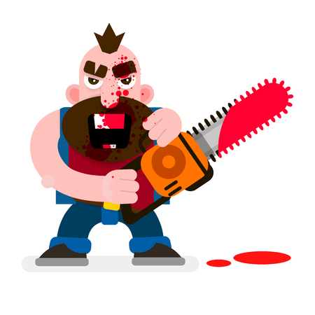 Illustration pour Crazy Murderer Covered In Blood With A Chainsaw Happy Halloween. Design For T-shirts, And Other Items. - image libre de droit