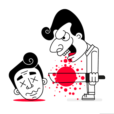 Illustration pour Serial Killer With Cold Weapons And Blood Vector Illustration Of Happy Halloween - image libre de droit