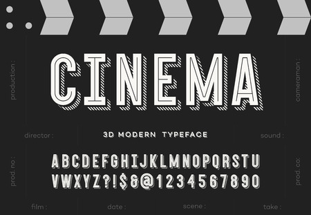 Cinema 3d modern typeface. Trendy typography sans serif style alphabet for party poster, printing on fabric, t shirt, promotion, decoration, stamp, label, special offer. Cool font. 10 eps