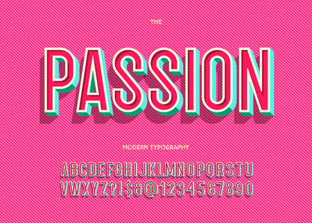 Ilustración de Vector passion font trendy typography sans serif style for book, promotion, poster, decoration, t shirt, sale banner, printing on fabric. Cool 3d bold alphabet. Modern typeface. 10 eps - Imagen libre de derechos