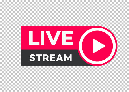 Photo pour Vector live stream icon flat style with play button isolated on transparent background for blog, player, broadcast, website, online radio, media labels, logo. Live stream banner. 10 eps - image libre de droit
