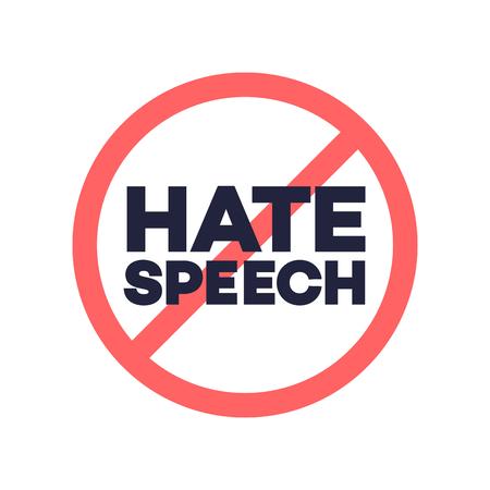 Photo pour hate speech sign. Protest symbol. Stop social negative word concept. Vector - image libre de droit