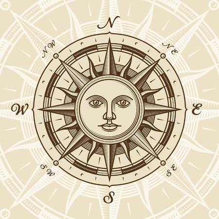 Ilustración de Vintage sun compass rose - Imagen libre de derechos