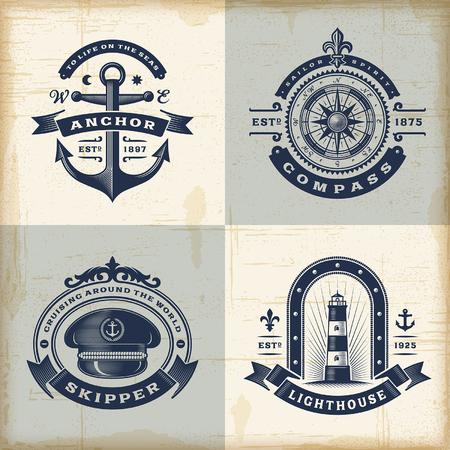 Foto de Set of vintage nautical labels - Imagen libre de derechos
