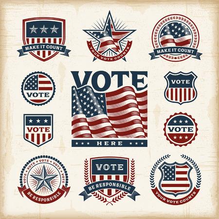 Illustration pour Vintage USA election labels and badges set - image libre de droit