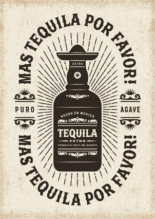 Illustration pour Vintage Mas Tequila Por Favor (More Tequila Please) Typography - image libre de droit