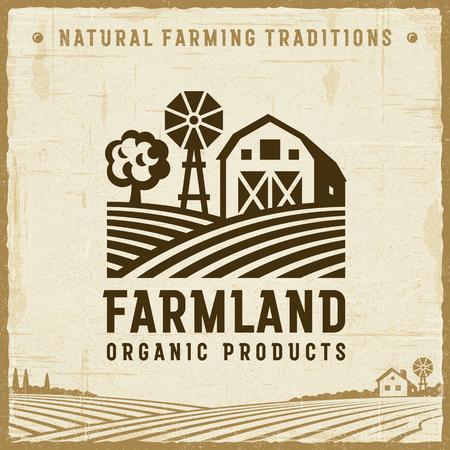 Illustration pour Vintage Farmland Label - image libre de droit