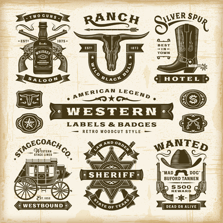 Illustration for Vintage Western Labels And Badges Set - Royalty Free Image