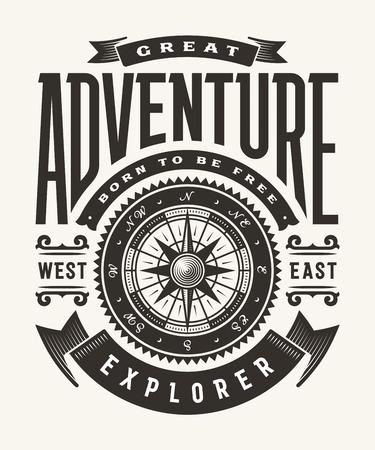 Illustration pour Vintage Great Adventure Typography (One Color) - image libre de droit