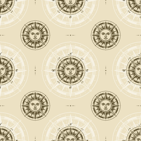 Illustration for Seamless vintage sun compass rose pattern - Royalty Free Image