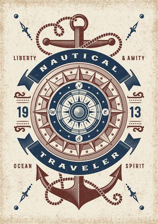 Ilustración de Vintage Nautical Traveler Typography - Imagen libre de derechos