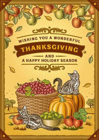 Ilustración de Vintage Thanksgiving Greeting Card - Imagen libre de derechos
