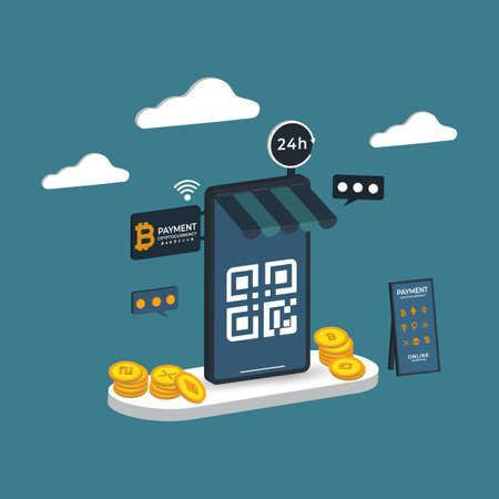 Illustration pour Online shopping 3D isometric Payment cryptography Vector illustration - image libre de droit