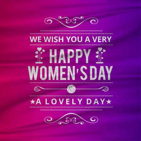 Illustration pour Wish you a happy women's day with pink background. For web design and application interface, also useful for infographics. Vector illustration. - image libre de droit