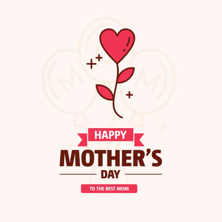 Illustration for happy mother day, holiday pink flower on blue background. can be use for sale advertisement, backdrop. vector. For web design and application interface, also useful for infographics. Vector illustration. - Royalty Free Image