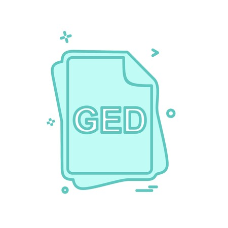 GED file type icon design vector