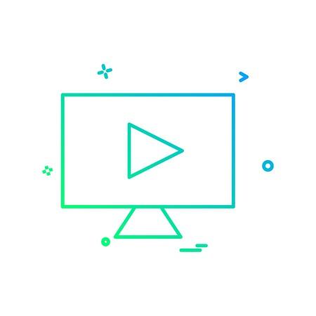Illustration pour lcd screen play icon design vector - image libre de droit