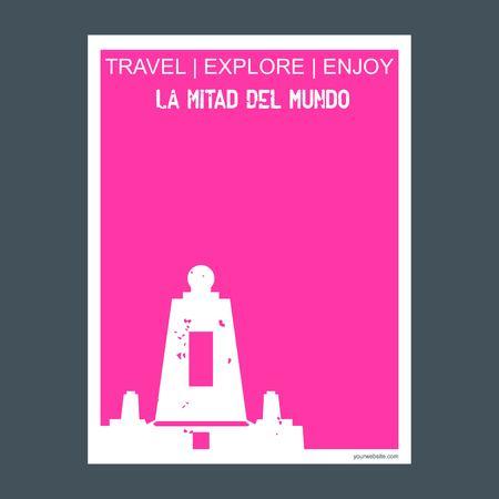 La Mitad Del Mundo Quito, Ecuador monument landmark brochure Flat style and typography vector