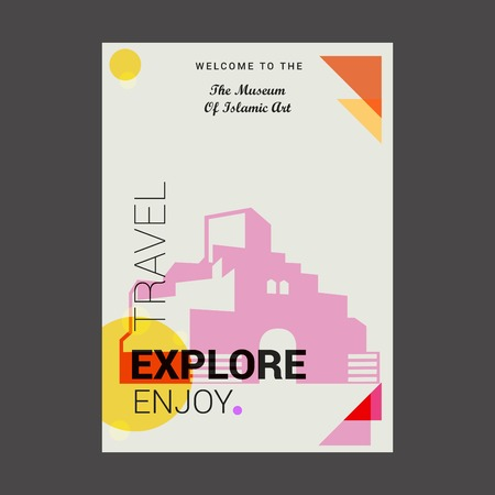 Illustration pour Welcome to The The Musuem of Islamic art Doha, Qatar Explore, Travel Enjoy Poster Template - image libre de droit