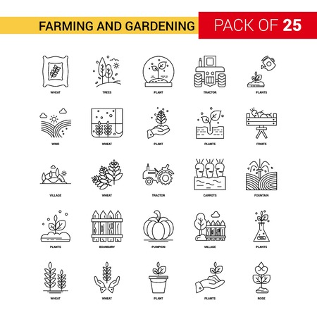 Farming and Gardening Black Line Icon - 25 Business Outline Icon Setのイラスト素材