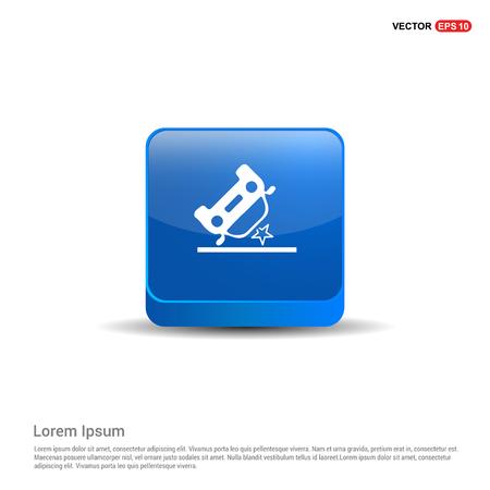 Illustration pour Car crash accident icon - 3d Blue Button. - image libre de droit