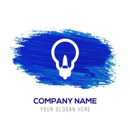 Illustration pour Bulb Icon - Blue watercolor background - image libre de droit