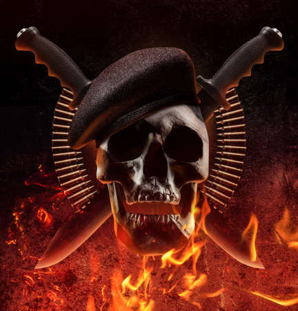 Photo pour Photo collage of human skull with beret, knives and bullet shells on fre background. - image libre de droit