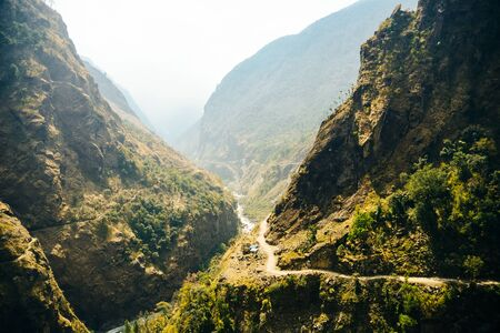 Photo for Lonely road, annapurnas trekking road, in Himalayas - Royalty Free Image