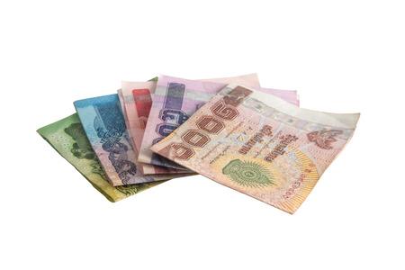 thai banknotes on white background